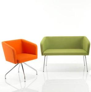 Orange Zara Armchair and Large Green Zara Armchair