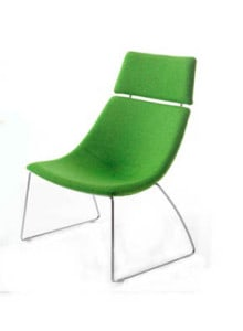 green tubchair with headrest