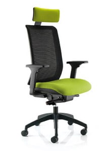 Mesh Chair with Yellow Headrest and Seating