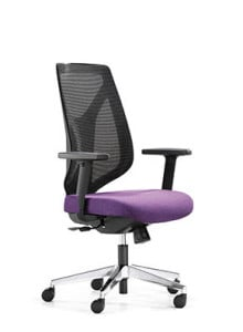 Black Mesh Chair with Purple Seating