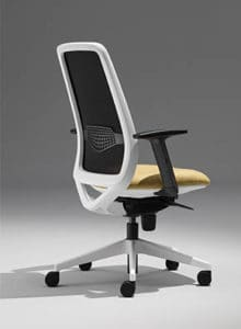 office chair meshed back white and yellow