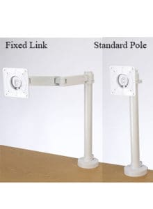 Two White Guide Monitor Arms