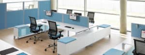 slider desk office white and blue