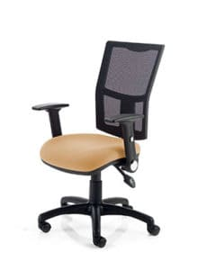 Office Arm Chair Light Browm Seating Mesh Back