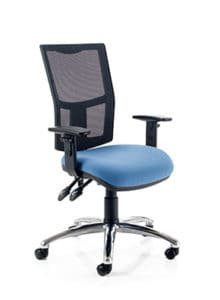 Office Arm Chair Light Blue Seating Mesh Back