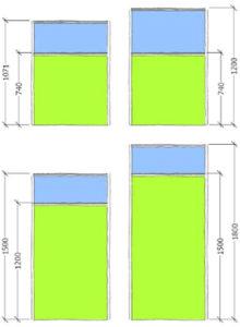 Area Floor standing Screen part glazed dimensions