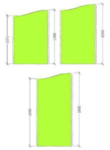 Area Floor standing Screen wave top dimensions