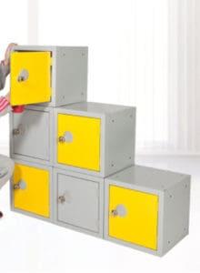 Education School lockers cubes Yellow, White