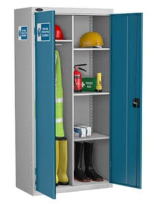PPE Cabinets Tall Blue with hanging rail