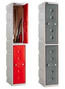 Plastic 2 door lockers Red&Grey