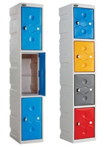 Plastic 3 and 4 door lockers Blue, Grey, Red, Yellow