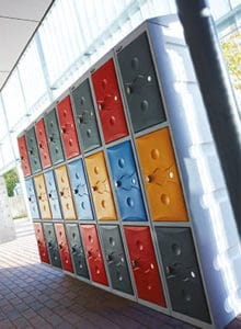 Plastic Lockers Blue, Grey, Red, Yellow