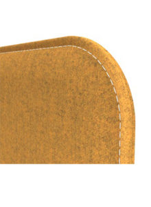 Snug desk mounted fabric screens with radius Corner detail