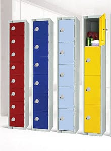 Storage Lockers Red,Blue, Yellow